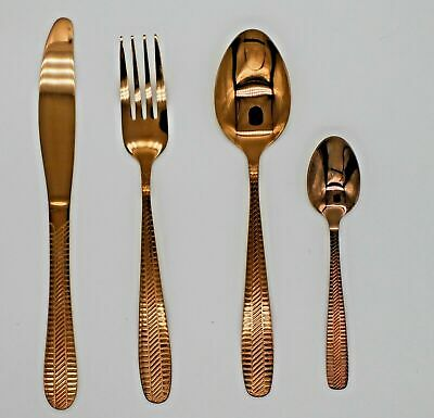 24 PIECE Copper Colour L Kitchen Cutlery Set  High Quality Tableware Dining    • 12.98£