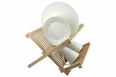 2 Tier Beech Wood Sink Tray Cutlery Rack Kitchen Foldable Dish Drainer Plate Cup • 19.99£