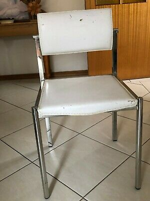 AU250 • Buy Modern Design Dinning Chairs - SET Of 8 Chairs - Chrome With White Leather