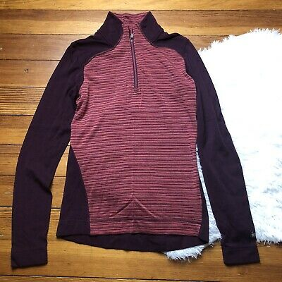 $34.77 • Buy Smartwool 1/4 Zip Up Merino Wool Striped Womens Pullover Size Small S