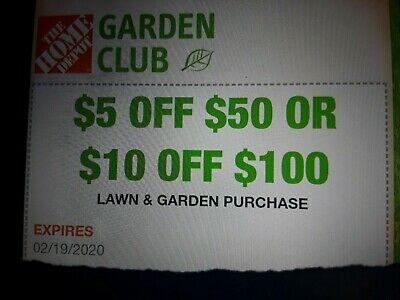 $1.99 • Buy One (1x) Home Depot $5 Off $50 OR $10 Off $100 Coupon-In-Store Only-EXP. 1/22/20
