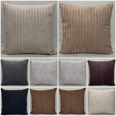 £0.99 • Buy High Quality Handmade Soft Striped Jumbo Cord Cushion Covers In Many Colours