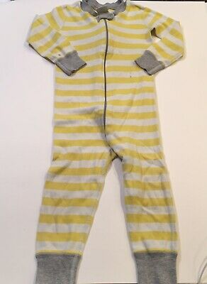 $12.99 • Buy Hanna Andersson 80cm 18-24 Months Long John Zip Up Pajamas Yellow White Stripes