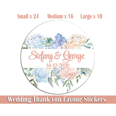 Personalised Floral Wedding Stickers For Favours, Invitations & Sweet Bags • 2.95£
