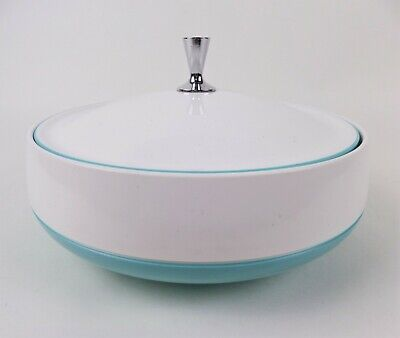 $19.95 • Buy Vintage Insulated Covered Dish Bowl Aqua Blue And White Vacron Bopp Decker Inc.