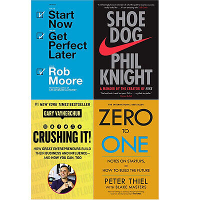 AU34.66 • Buy Start Now, Shoe Dog, CRUSHING IT! ,Zero To One  4  Books Collection Set NEW