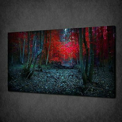 £50.60 • Buy Mystic Red Leaves Forest Trees Canvas Wall Art Print Picture Ready To Hang