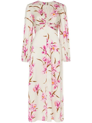 $522.49 • Buy $865 Zimmermann Corsage Floral Print Midi Dress In Sage/Fuchsia Orchid (Size 3)