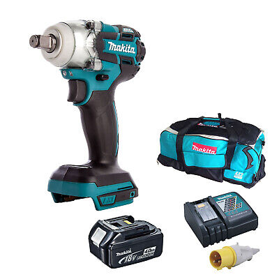 MAKITA 18V DTW285 IMPACT WRENCH, BL1840 BATTERY DC18RC 110v CHARGER LXT600 BAG • 283.98£
