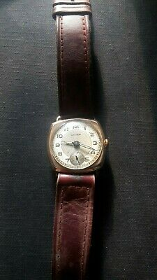 CYMA  DIRTY DOZEN  MOVEMENT In 9ct Gold Military Trench Watch Hinged Case 1920's • 400£