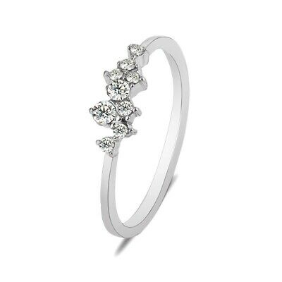 £2.99 • Buy 925 Sterling Silver Plated Diamond Rings Crystal Couple Engagement Gift