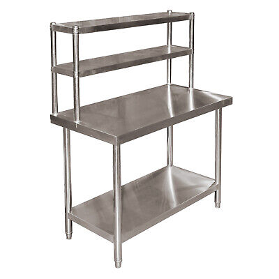 Stainless Steel Height Adjustable Table W/ 2 Layer Top Shelf 120x60x85cm • 184£