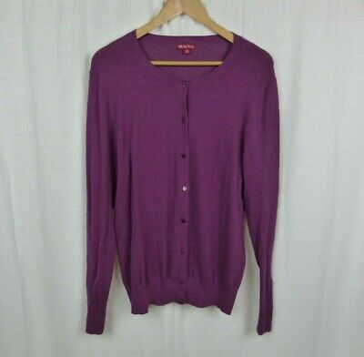 $10.77 • Buy Merona Women's Purple Long Sleeve Button Front Cardigan Sweater Cotton Blend 2XL