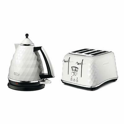 AU261.83 • Buy DeLonghi Electric Kettle And Toaster Set Brillante 4 Slice Toaster Kettle White