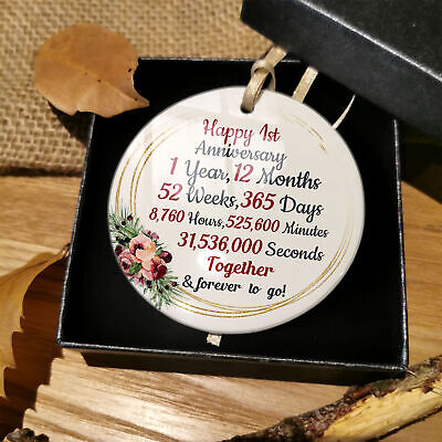 1st 2nd 5th 10th 20th 25th 50th Wedding Anniversary Ceramic Bauble Mr & Mrs Gift • 6.48£