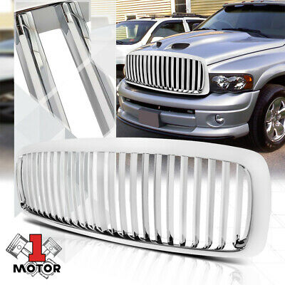 $54.99 • Buy For 2002-2005 Ram 1500/2500/3500{VERTICAL-BAR}Glossy Chrome Bumper Grille Grill