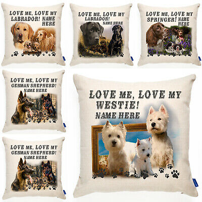 Personalised Dog Cushion Cover Love My Breed Pillow Birthday Christmas Gift • 12.95£