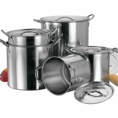 £33.99 • Buy 4pc Industrial Large Stock Pots Pans Restaurant Catering Cooking Stainless Steel