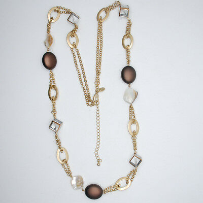 $ CDN14.92 • Buy Lia Sophia Jewelry Matte Gold Tone Long Necklace Mother Of Pearl Beaded