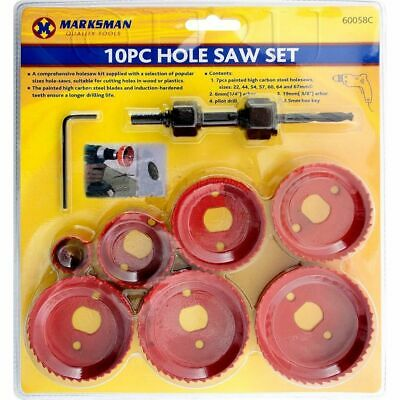 £6.24 • Buy 10pc Hole Saw Cutter Drill Set Decking Down Lights Wood Plaster Board Ceiling