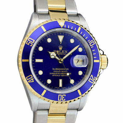 $ CDN16467.48 • Buy ROLEX Mens 18kt Gold Stainless Submariner Blue Index No Holes 16613 SANT BLANC