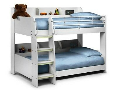 Domino White Childrens Wooden Bunk Bed Frame With 2 Premier Mattress Included • 525£