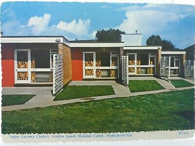Vtg Postcard Super Luxury Chalets Golden Sands Holiday Camp Hopton On Sea 1960s • 18.75£
