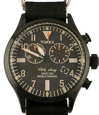 $59.95 • Buy NEW TIMEX ARCHIVE WATERBURY ABT005 Chronograph Fabric Black Watch
