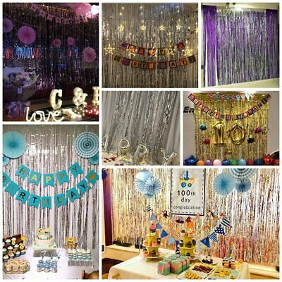 2M-3M Foil Fringe Tinsel Shimmer Curtain Door Wedding Birthday Party DECORATIONS • 1.79£