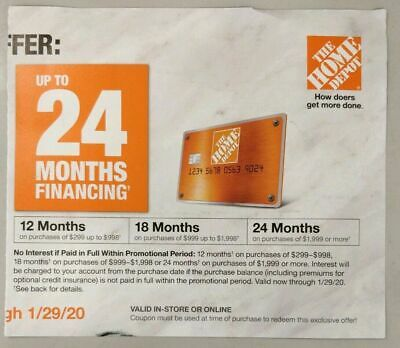 $24.99 • Buy Home Depot Coupon 10% Off Or 24 Month Financing, Exp 01/29/20 In-store OR Online