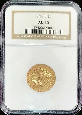 $ CDN930.95 • Buy 1913 S Gold Us $5 Dollar Indian Head Half Eagle Ngc About Uncirculated 50