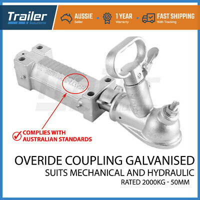 AU82.39 • Buy 2T 50mm Trailer Coupling Hitch Override Galvanized  Hydraulic Mechanical Brake