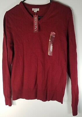 $5.99 • Buy Merona Mens Small Red Long Sleeve Pullover V-Neck Sweater New With Tags