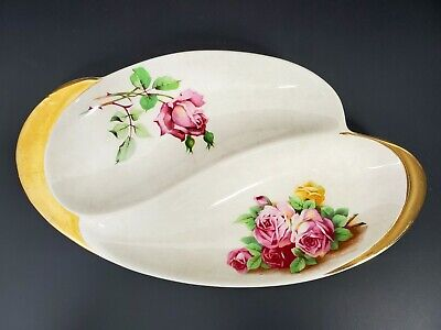 $ CDN46 • Buy Royal Winton Grimwades Footed Serving Dish Roses 24K Gold VTG English China Tea