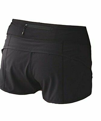 $29.99 • Buy Lululemon SOLID BLACK RUN TIMES / SPEED SHORTS  EUC SIZE 2