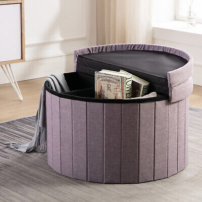 $50.98 • Buy Folding Storage Ottoman With Flipping Lid Storage Chest Footstool Coffee Table🥇