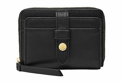Fossil Fiona Zip Coin Purse Black Leather Rrp £45 • 28£