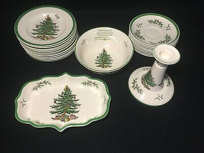 $7.95 • Buy SPODE  Christmas Tree  Saucers Bread Specialty Bowl White Green Red Holiday