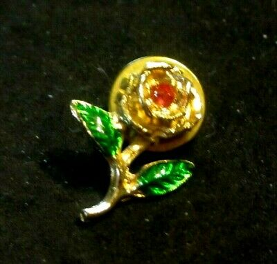 Rose Flower Lapel Pin Hat Pin Tie Tack Pink Center Stone Green Leaves .75  H Euc • 3.37£