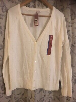 $12.95 • Buy Merona CARDIGAN SWEATER Cream With Pearl Accents ~ Size L/G~Lightweight~NWT