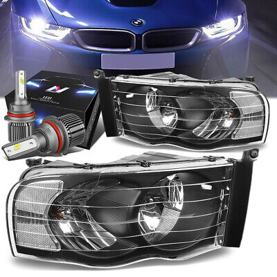 $113.87 • Buy Black Housing Side Headlights+led Hid Kit W/fan For 02-05 Dodge Ram 1500/2500