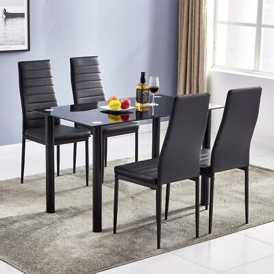 $159.99 • Buy 5 Pieces Dining Table Black Glass Table And 4 Chairs Faux Leather Dinning Set