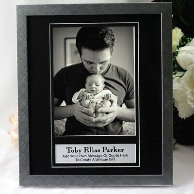 AU49 • Buy Baby Personalised Photo Frame 6x8 Black/Silver - Unique Baby Gift