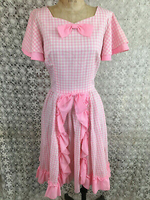 $24 • Buy Vtg Square Dance Dress Pnk Gingham Check Ruffled By Diane's Petticoat Parlor M/L