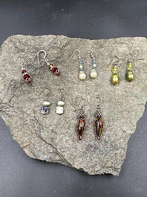 $ CDN1.30 • Buy Simple But Beautiful Sterling Silver Dangle Beaded Lot Of 5 Earrings 925 #A510