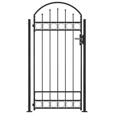 £176.99 • Buy VidaXL Fence Gate With Arched Top And 2 Posts 105x204cm Black Entrance Door