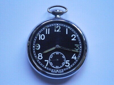Vintage Gents MILITARY POCKET Watch WW2 Mechanical Watch Spares Or Repair Swiss • 12£