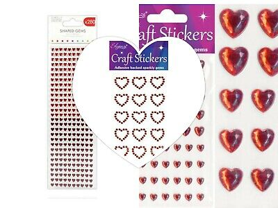 Red Heart Stickers Diamante Gem Craft Self Adhesive Stickers Choice Of Packets • 2.55£