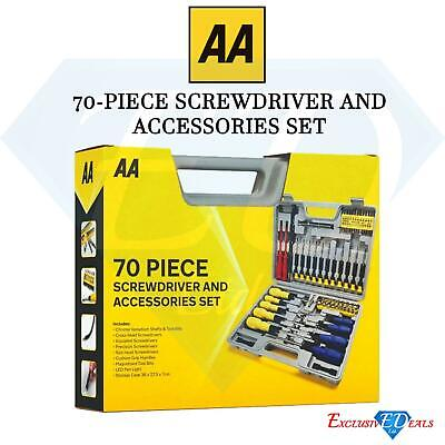 70 Piece Screw Driver And Accessory Tool Kit Magnetic Bits AA Car Essentials Kit • 19.95£