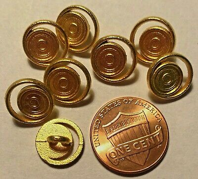 $5.49 • Buy 8 Small Pierced Brushed Gold Tone Metal Buttons Just Over 7/16  11.6mm 9550